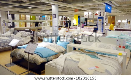 TORONTO, CANADA   MARCH 1, 2014: Bedroom Furniture On Display At An Ikea