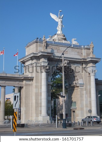 TORONTO, CANADA - SEPTEMBER 25: Princes' Gates at Exhibition Place in Toronto, Canada, on September 25, 2011. The 197 Â?Â?acre area includes expo, trade, banquet centers, theater, monuments, parkland etc.