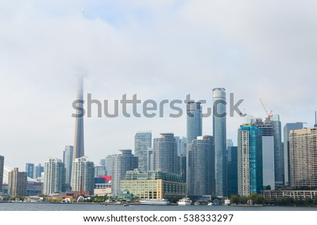 Toronto, Canada - September 24, 2015: Toronto downtown, CN tower and condominium construction