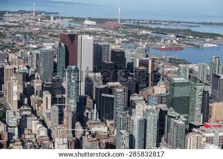 TORONTO, CANADA - 6TH JUNE 2015: A view of buildings in downtown Toronto viewed from the air