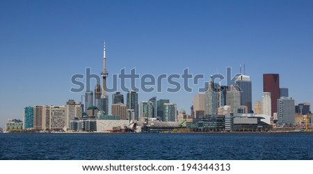 Toronto Cityscape during the day from the East with logos and branding removed from buildings