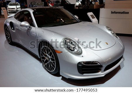 TORONTO-FEBRUARY 14: The all New Porsche 911 Turbo S at the 2014 Canadian International Auto Show on February 14, 2014 in Toronto