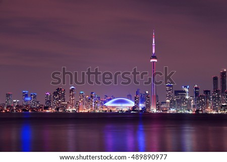 Toronto Skyline at night, Ontario, Canada