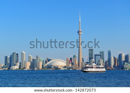 Toronto skyline panorama over lake with urban architecture.