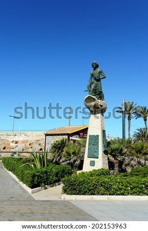 TORREVIEJA, SPAIN - MAY 6, 2012: Torrevieja is a Mediterranean city, with a privileged location and the unique climatic conditions. Is  as the ecological clean region of Europe. Memorial to fishermen.