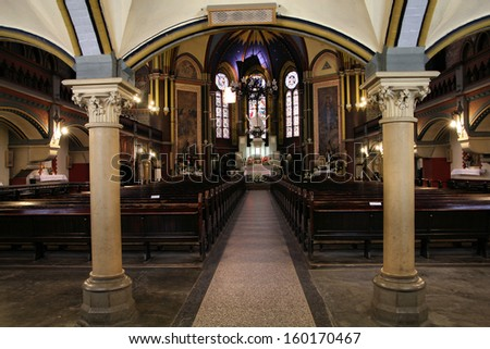 TORUN, POLAND - SEPTEMBER 6: Interior view of Saint Catherine church on September 6, 2010 in Torun, Poland. The military church was constructed in 1894-97.