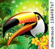 Toucan Close Up Art Design on Tropical Jungle - stock vector