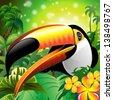 Toucan Close Up Art Design on Tropical Jungle - stock vector