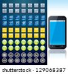 Touchscreen Smart phone with Set of Various Interface and Menu Buttons. - stock