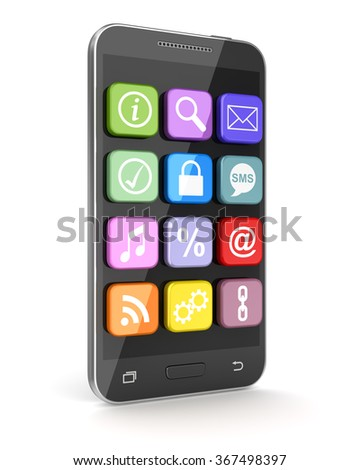 Touchscreen smartphone with application icons. 3d render and computer generated image.