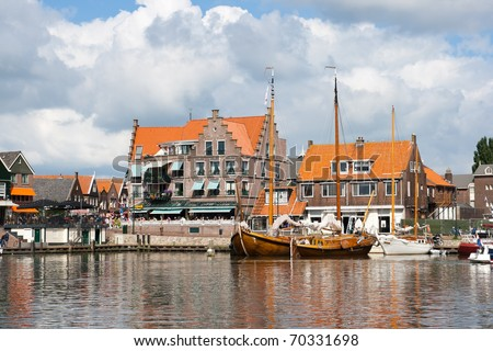 Touristic town of Volendam in Holland