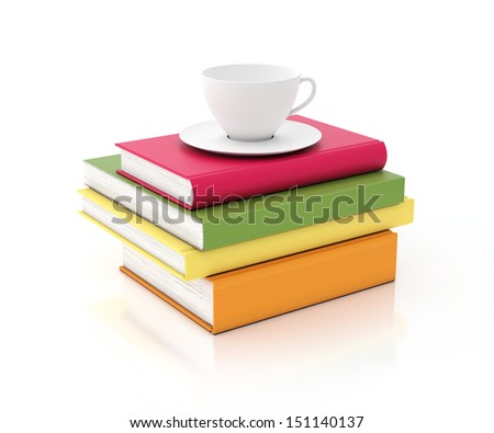 tower of multicolored books with cup on the top, isolated on white background