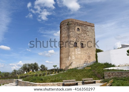 Tower of the castle of the village of Redondo, Alentejo region, Portugal