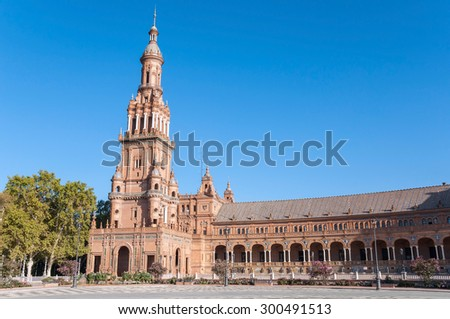 Tower of the Plaza de Espana in Seville in Spain.  It is a landmark example of the Renaissance Revival style in Spanish architecture.