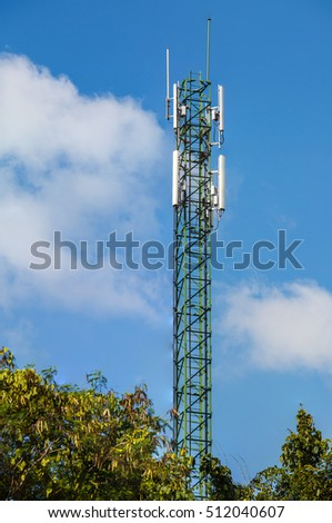 Tower phone in the blue sky.