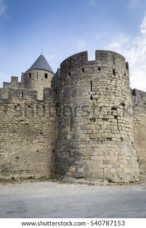 Towers and walls of old French city