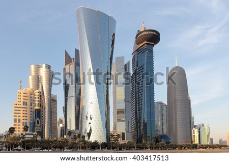Towers in the Dafna area of Doha, Qatar, in the evening light in January 2016.