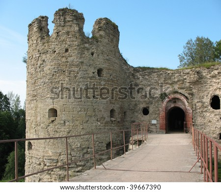 Towers of the medieval fortress in Koporje. Russia