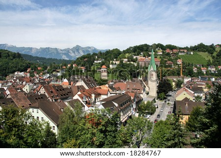 Townscape od Feldkirch, Vorarlberg, Austria. Austrian Alps in the background.
