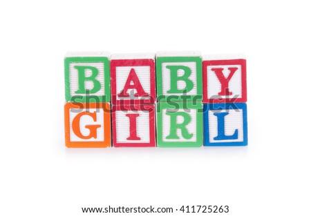 Colorful Alphabet Blocks Spelling Words Baby Stock Photo