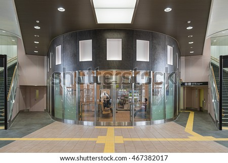 TOYAMA,JAPAN-APRIL 9,2016 : Waiting room in Shin Takaoka station. This station operated by JR West for Hokuriku Shinkansen (High speed train) line (Tokyo - Kanazawa route) opened in March 2015.
