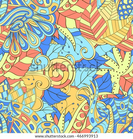 Tracery seamless calming pattern. Mehendi design. Ethnic colorful doodle texture. Indifferent discreet. Curved doodling mehndi motif.