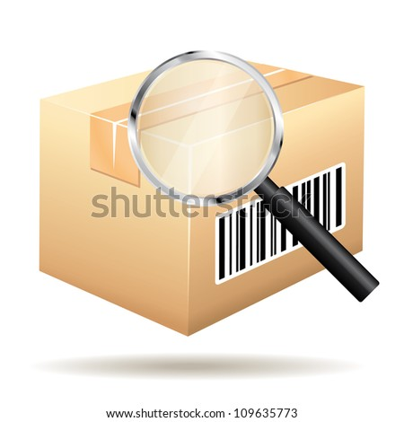 Tracking parcel services. Order with bar-code and loop icon.