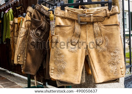 Traditional austrian and bavarian lederhosen (leather pants) for sale in St.Gilgen, Austria
