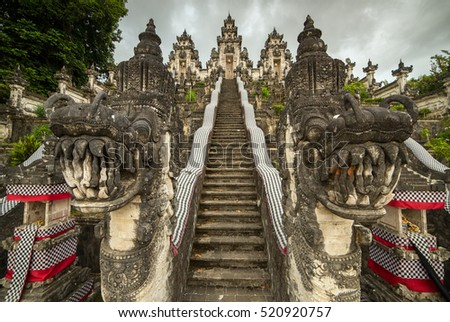 Traditional balinese temple guards at the entrance to Pura Penataran Agung Lempuyang on Bali, Indonesia