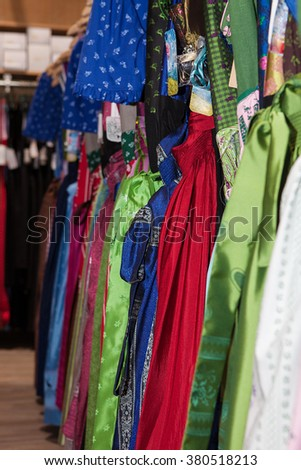 Traditional Bavarian dress in shop prepared for Octoberfest