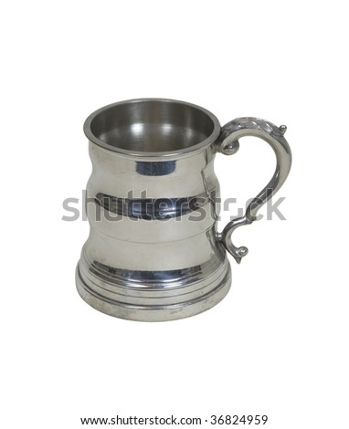 Traditional beer stein with handle for raising a mug in celebration - path included