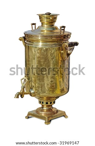 Traditional big russian boiler for tea drinking - samovar with clipping path