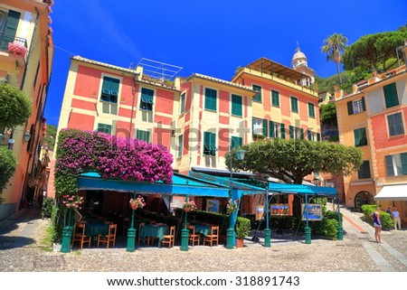 Traditional buildings and terraces in Portofino, Italy