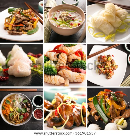 Traditional chinese food. Photo collage with chinese cuisine
