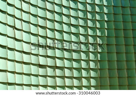 Traditional chinese green glazed tile, Curve wall background