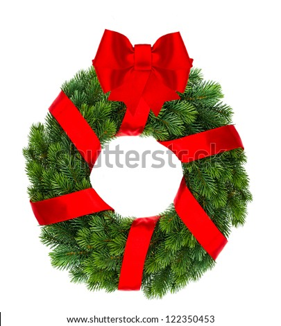 traditional christmas decoration evergreen wreath with red ribbon isolated on white background