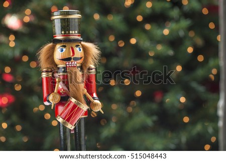 Traditional Christmas holiday nutcrackers figurine ornament.  Wooden nutcracker is the image of authorities from the past such as kings, soldiers and gendarmes.