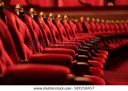 traditional classically regal ornate rounded wood armed formal plush deep red velvet opera movie theater chairs - Movie Theater Chairs