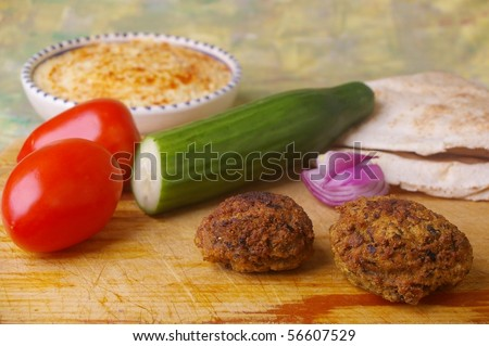 traditional egypt food the falafel and ingredients for pita bread sandwich