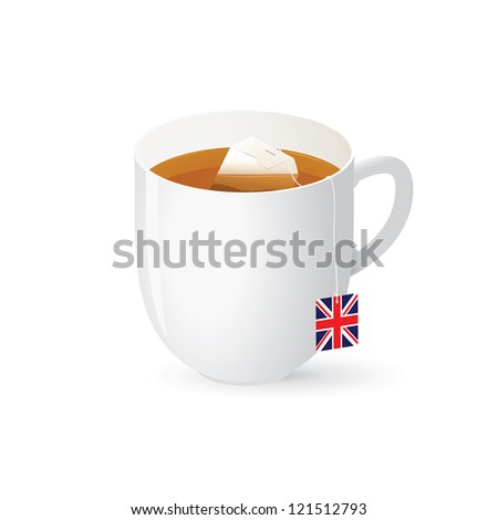 Traditional english black tea with union jack label in white cup