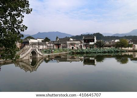 Traditional house style in Hongcun village, Unesco site, Huangshan, Anhui Provice, China