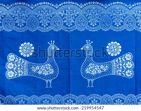 Traditional Hungarian blue-dyed fabric with bird motives