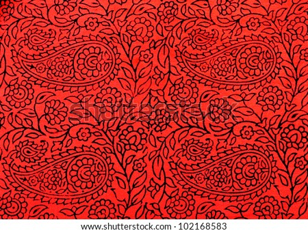 Traditional Indian hand-printed cotton fabric with floral design