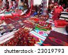 Traditional oriental carpets in Wakif souk in Doha Qatar - stock photo