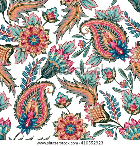 Traditional oriental seamless paisley pattern vintage for Paper wallpaper designs