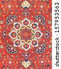 traditional ornament of Central Asian vintage carpet on middle of the 20th century - stock photo