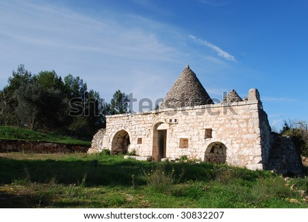 Traditional Pugliese Stone Trullo Country House in the Characteristic Architecture of the Valle d�Itria, Which is Unique in the World, Near Martina Franca, Valle d�Itria, Italy