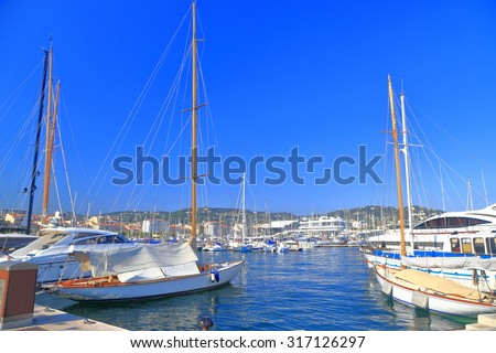 Traditional sail boats inside the harbor of Cannes, French Riviera, France