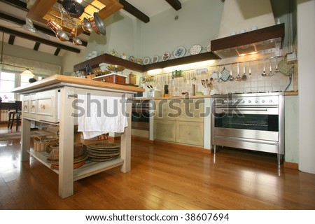 Traditional wooden provence style kitchen will all modern appliances