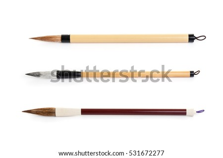 traditional writing brush isolated on white background, Japanese writing brush, Chinese writing brush